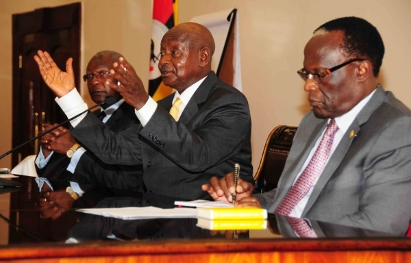 H.E President Museveni during a meeting with judges at State house Entebbe on September 2, 2015 (PHOTO: PPU)