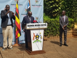 Dr. Katebalirwe Amooti, the Ag. Chairperson, Uganda Human Rights Commission addressing the media at the Uganda Media Centre on Friday April 24, 2020(PHOTO: UHRC)