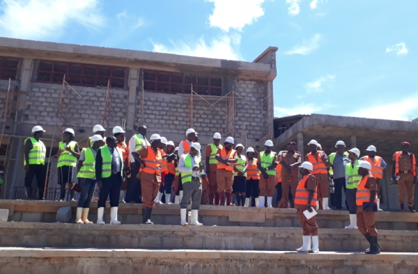 A team from the Sector led by the Commissioner General of Uganda Prisons Dr. Johnson Byabashaija inspecting ongoing works at Kitalya Mini-Max Prison on 12th November 2018 (PHOTO: Edgar Kuhimbisa / JLOS)