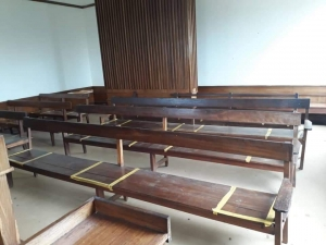 Marked seats at Nateete Magistrates Court