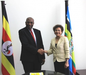 Prime Minister Rt. Hon Ruhakana Rugunda meeting Ms. Irene Khan Director General IDLO earlier in September 2019