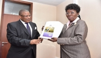 Mr. Med Kagwa, Chairperson UHRC at a recent function with the Speaker of Parliament Hon. Rebecca Kadaga