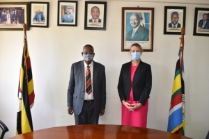 Hon. Prof. Ephraim Kamuntu, Minister of Justice and Constitutional Affairs and H.E Dr. Karen Bovin the Dutch Ambassador to Uganda during the meeting held on 16th March 2021(Photo: JLOS/MOJCA)