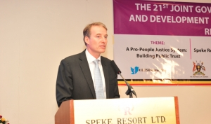 H.E Kristian Schmidt, the EU Ambassador to Uganda delivering his remarks at the 21st Annual JLOS Review, Speke Resort Munyonyo (PHOTO: JLOS)