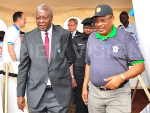 Chief Justice Bart Katurebe and Hon. Med Kaggwa, the Chairperson Uganda Human Rights Commission at the 2018 International Human Rights Day Celebrations in Kampala (PHOTO: New Vision)