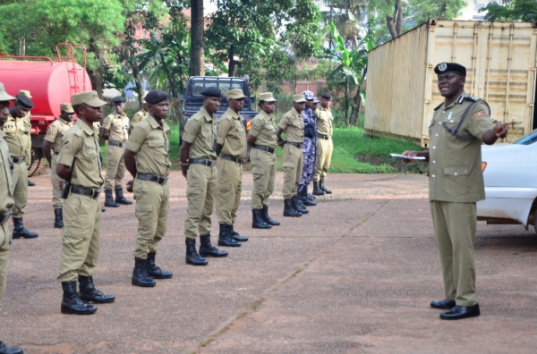 Assistant Commissioner of Police Anatoli Muleterwa (Department of Community Policing) during the Covid-19 sensitization campaign