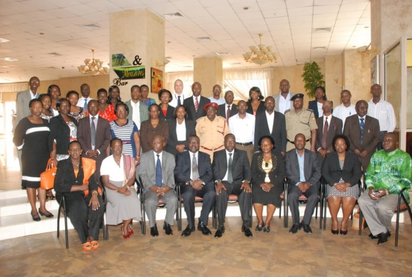 Participants at the JLOS IEC Policy validation workshop held at Imperial Royale Hotel, Kampala on September 25 2014 (PHOTO: JLOS)