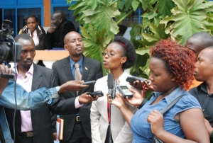 Ms Christine B. Nsubuga, National Coordinator Justice Centres addressing the media on the sidelines of the Justice Centres Media Workshop held on May 7, 2015 (PHOTO: JCU)