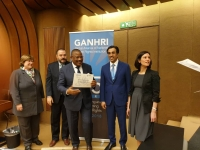 Hon. Med S. Kaggwa, the Chairperson UHRC receiving the 'A' Status certificate of accreditation from GANHRI officials at the annual meeting of National Human Rights Institutions (NHRI) in Geneva on March 6, 2019 (PHOTO: UHRC)
