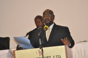 H.E Yoweri Kaguta Museveni delivering the keynote address at the 3rd Annual Legal Aid Conference on August 10, 2015 (PHOTO: JLOS)